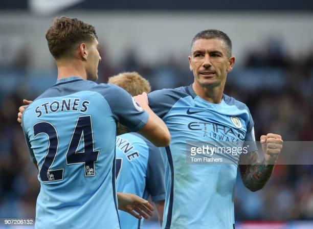 Manchester City v Sunderland Premier League Etihad Stadium Aleksandar Kolarov and John Stones of Manchester City celebrate victory during the...