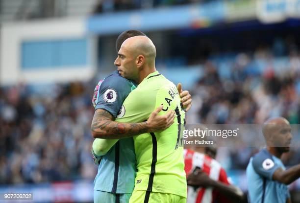 Manchester City v Sunderland Premier League Etihad Stadium Aleksandar Kolarov and Wilfredo Caballero of Manchester City celebrate victory during the...