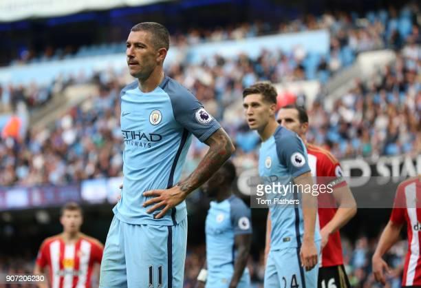 Manchester City v Sunderland Premier League Etihad Stadium Aleksandar Kolarov and John Stones of Manchester City in action during the Barclays...