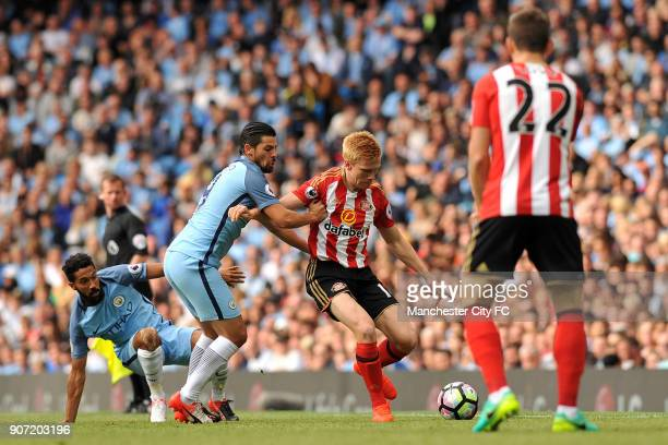 Manchester City v Sunderland Premier League Etihad Stadium Manchester City's Nolito and Sunderland's Duncan Watmore in action during the Barclay's...
