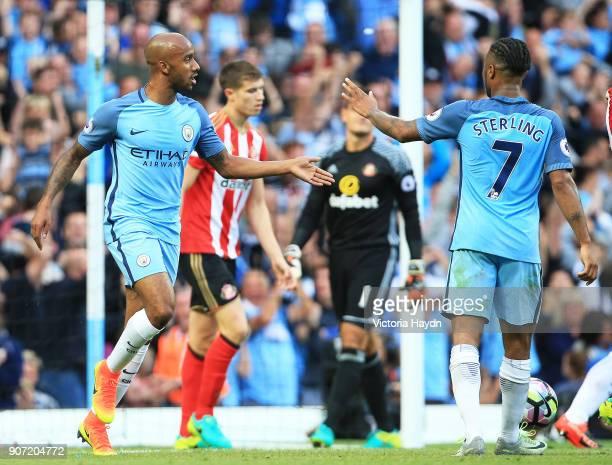 Manchester City v Sunderland Premier League Etihad Stadium Manchester City's Fabian Delph celebrates his goal with teammate Raheem Sterling