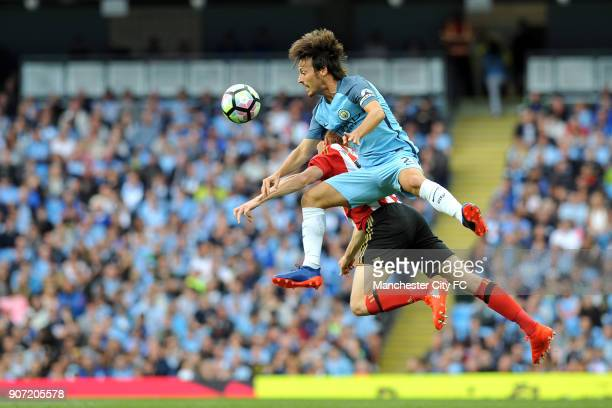 Manchester City v Sunderland Premier League Etihad Stadium Manchester City's David Silva and Sunderland's Duncan Watmore in action during the...