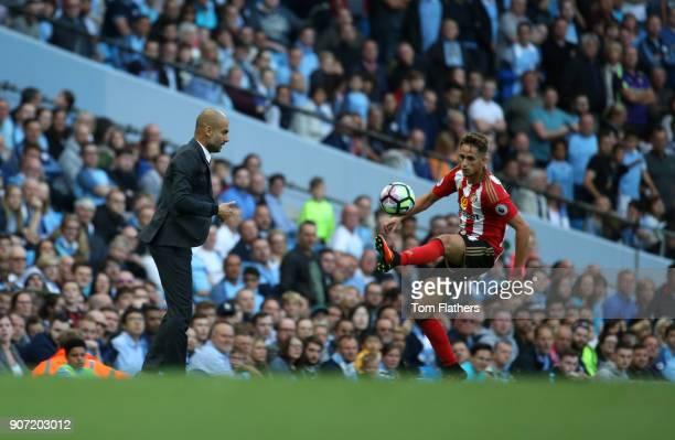 Manchester City v Sunderland Premier League Etihad Stadium Pep Guardiola watches on as Adnan januzaj controls the ball during the Barclays Premier...