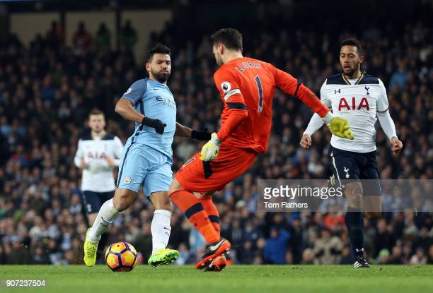 Manchester City v Tottenham Hotspur Premier League Etihad Stadium Manchester City's Sergio Aguero attempts to block the ball from Tottenham Hotspur...