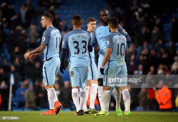 Manchester City v Tottenham Hotspur Premier League Etihad Stadium Manchester City's Sergio Aguero Gabriel Jesus and Yaya Toure after the game