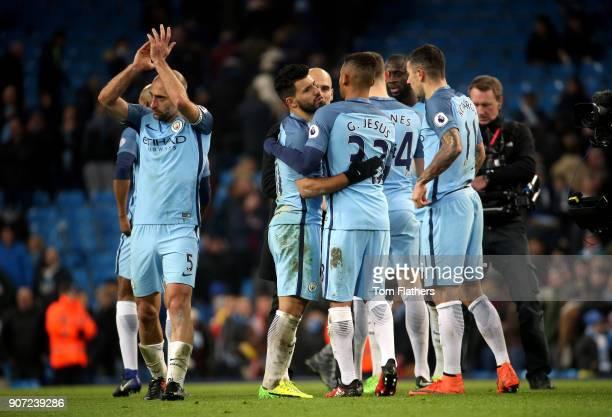 Manchester City v Tottenham Hotspur Premier League Etihad Stadium Manchester City's Sergio Aguero and Gabriel Jesus after the game