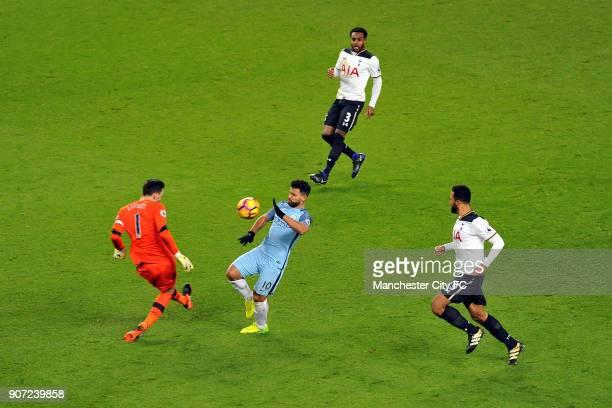 Manchester City v Tottenham Hotspur Premier League Etihad Stadium Manchester City's Sergio Aguero and Tottenham Hotspur's Hugo Lloris in action...