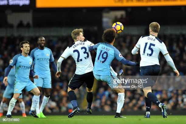 Manchester City v Tottenham Hotspur Premier League Etihad Stadium Manchester City's Leroy Sane and Tottenham Hotspur's Christian Eriksen and Eric...