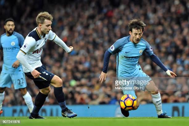 Manchester City v Tottenham Hotspur Premier League Etihad Stadium Manchester City's David Silva and Tottenham Hotspur's Christian Eriksen in action...