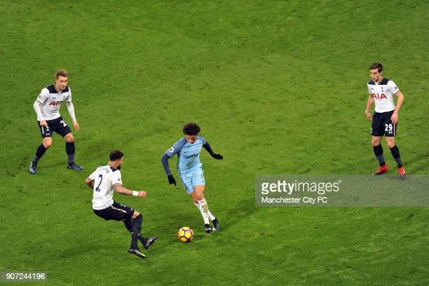 Manchester City v Tottenham Hotspur Premier League Etihad Stadium Manchester City's Leroy Sane and Tottenham Hotspur's Kyle Walker Christian Eriksen...