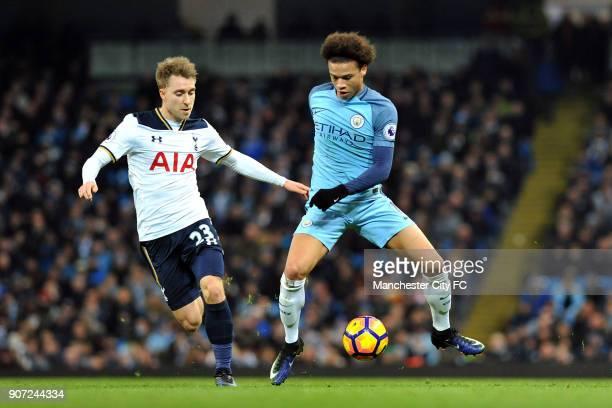 Manchester City v Tottenham Hotspur Premier League Etihad Stadium Manchester City's Leroy Sane and Tottenham Hotspur's Christian Eriksen in action...