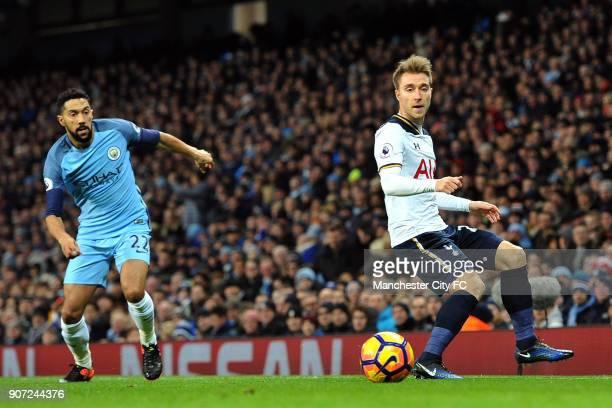 Manchester City v Tottenham Hotspur Premier League Etihad Stadium Manchester City's Gael Clichy and Tottenham Hotspur's Christian Eriksen in action...