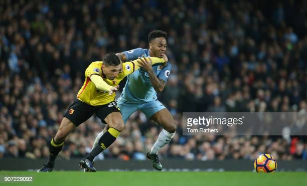 Manchester City v Watford Premier League Etihad Stadium Manchester City's Raheem Sterling in action against Watford's Jose Holebas