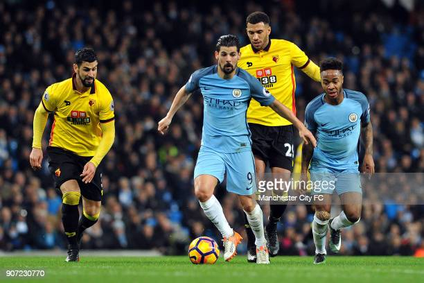Manchester City v Watford Premier League Etihad Stadium Manchester City's Nolito and Raheem Sterling and Watford's Etienne Capoue in action during...
