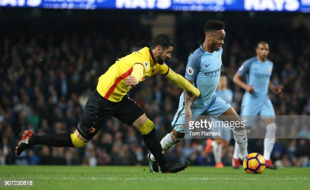 Manchester City v Watford Premier League Etihad Stadium Manchester City's Raheem Sterling in action against Watford's Miguel Britos