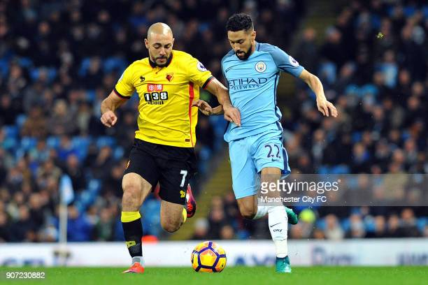 Manchester City v Watford Premier League Etihad Stadium Manchester City's Gael Clichy and Watford's Nordin Amrabat in action during the Premiership...