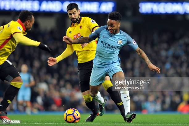 Manchester City v Watford Premier League Etihad Stadium Manchester City's Raheem Sterling and Watford's Miguel Angel Britos in action during the...