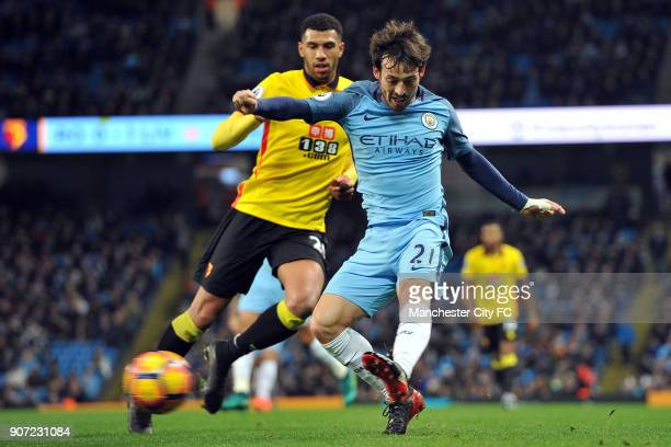 Manchester City v Watford Premier League Etihad Stadium Manchester City's David Silva and Watford's Etienne Capoue in action during the Premiership...