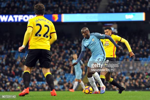Manchester City v Watford Premier League Etihad Stadium Manchester City's Yaya Toure and Watford's Etienne Capoue in action during the Premiership...