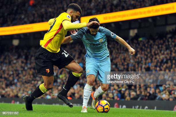 Manchester City v Watford Premier League Etihad Stadium Manchester City's Nolito and Watford's Etienne Capoue in action during the Premiership match...