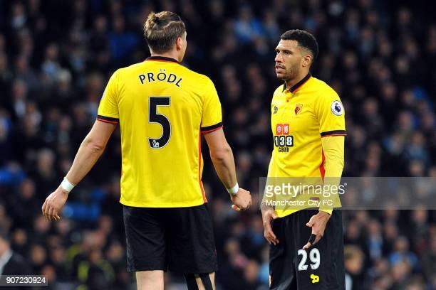 Manchester City v Watford Premier League Etihad Stadium Watford's Sebastian Prodi and Etienne Capoue during the Premiership match at the Etihad...