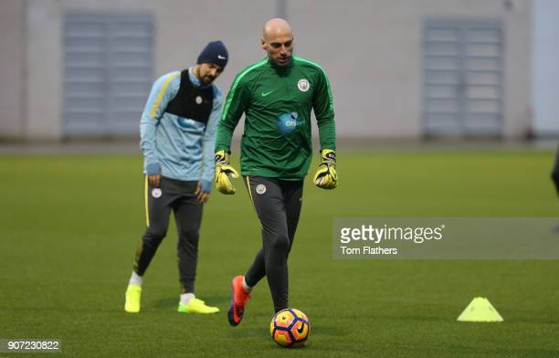 Manchester City v Watford Premier League Manchester City Training City Football Academy Manchester City's Willy Caballero in training
