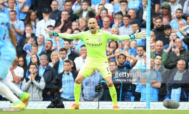 Manchester City v West Ham United Premier League Etihad Stadium Manchester City's Willy Caballero in action