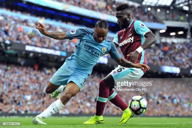 Manchester City v West Ham United Premier League Etihad Stadium Manchester City's Raheem Sterling and West Ham United's Arthur Masuaku in action...