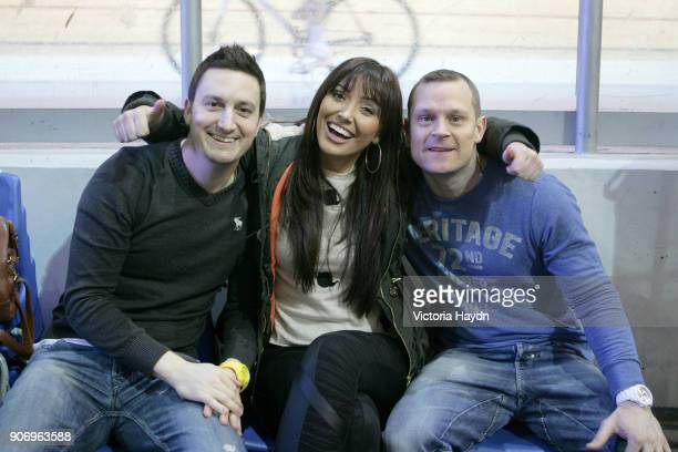 Manchester City Velocity Charity Cycling Event National Cycling Centre Manchester Manchester City TV presenters Natalie Pike and Danny Jackson during...