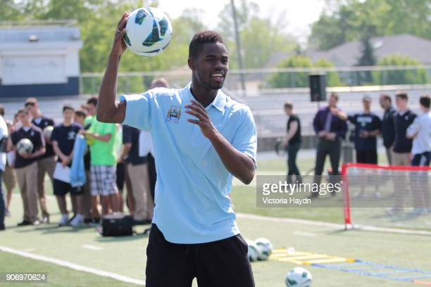 Manchester City visit Staten Island New York Abdul Razak at Staten Island United where Manchester City Football Club have donated equipment in the...