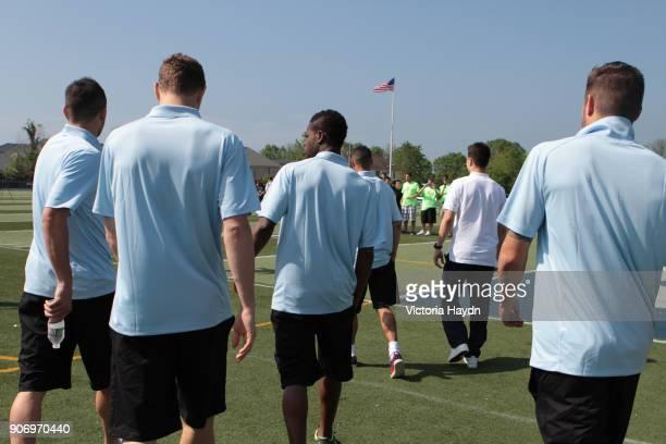 Manchester City visit Staten Island New York Aleksander Kolarov Edin Dzeko Abdul Rasak Gael Clichy Samir Nasri and Javi Garcia during a visit to...