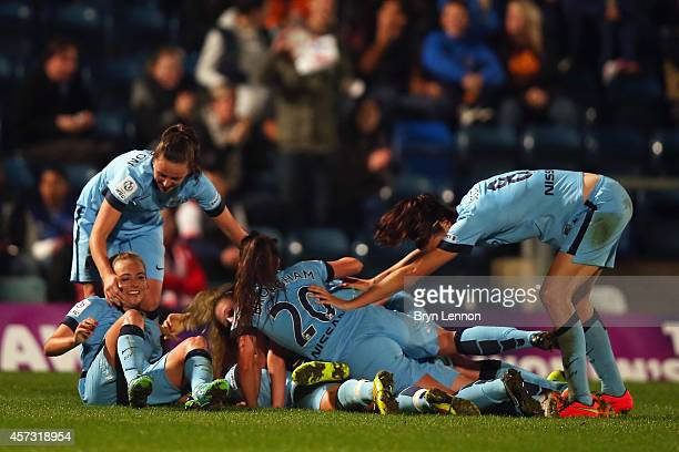 Manchester City Women celebrate after scoring during the FA WSL Continental Cup Final between Arsenal Ladies and Manchester City Ladies at Adams Park...
