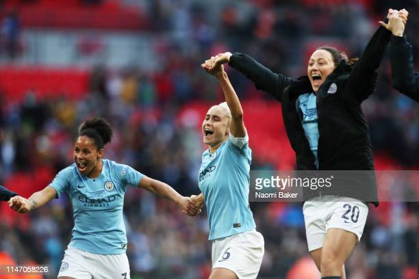 Manchester City Women celebrate after their teams victory during the Women's FA Cup Final match between Manchester City Women and West Ham United...
