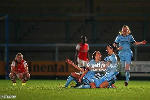 Manchester City Women celebrate at the final whistle after winning the FA WSL Continental Cup Final between Arsenal Ladies and Manchester City Ladies...
