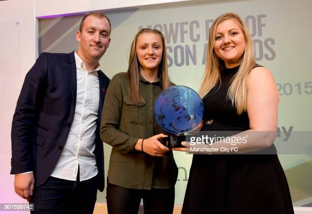 Manchester City Women End of Season Awards 2015 Chairman's Club Etihad Stadium Georgia Stanway receives the Timeline Rising Star Award on stage...