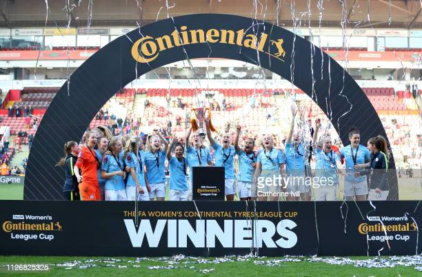 Manchester City Women lift the trophy following the FA Women's Continental League Cup Final between Arsenal and Manchester City Women at Bramall Lane...