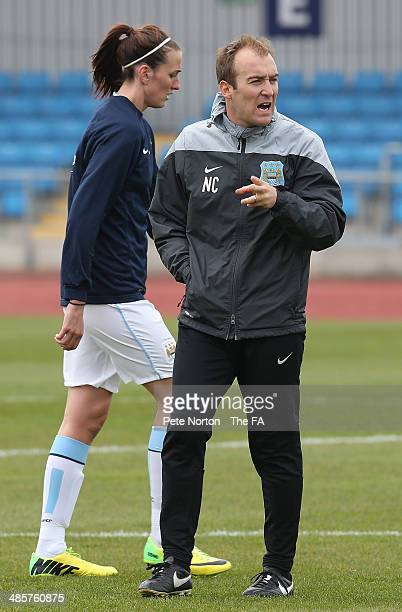 Manchester City Women manager Nick Cushing looks on during the pre match warm up prior to the FA WSL 1 match between Manchester City Women and...