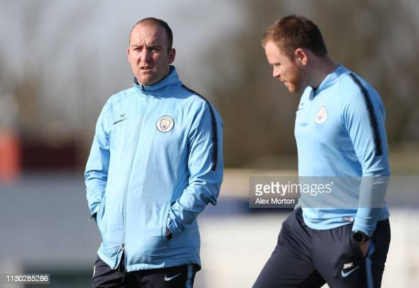 Manchester City Women manager Nick Cushing watches the warm up prior to the SSE Women's FA Cup match between Tottenham Hotspur Ladies and Manchester...