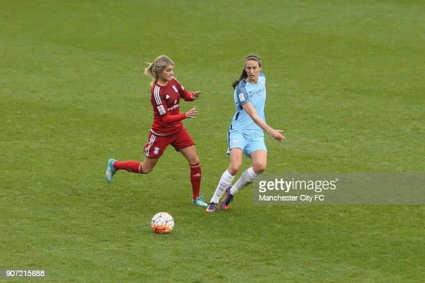 Manchester City Women v Birmingham City Ladies Women's Super League Academy Stadium Toni Duggan and Andrine Hegerberg during the Women's Super League...