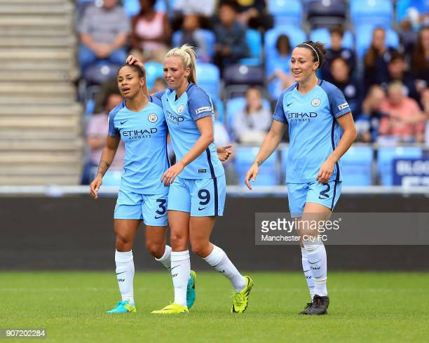 Manchester City Women v Doncaster Rovers Belles FA WSL Continental Tyres Cup City Academy Stadium Manchester City Women's Demi Stokes Toni Duggan and...