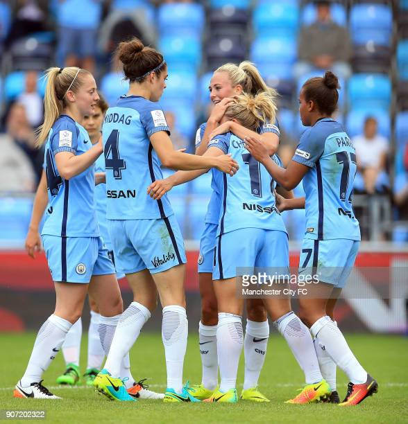 Manchester City Women v Doncaster Rovers Belles FA WSL Continental Tyres Cup City Academy Stadium Manchester City Women's Izzy Christiansen...