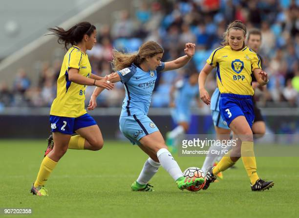 Manchester City Women v Doncaster Rovers Belles FA WSL Continental Tyres Cup City Academy Stadium Manchester City Women's Daphne Corboz and Doncaster...