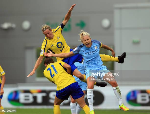 Manchester City Women v Doncaster Rovers Belles FA WSL Continental Tyres Cup City Academy Stadium Manchester City Women's Steph Houghton collides...