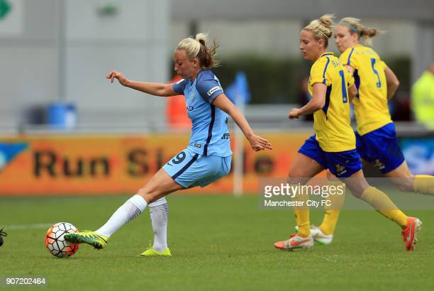 Manchester City Women v Doncaster Rovers Belles FA WSL Continental Tyres Cup City Academy Stadium Manchester City Women's Toni Duggan scores her...