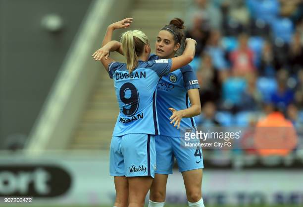 Manchester City Women v Doncaster Rovers Belles FA WSL Continental Tyres Cup City Academy Stadium Manchester City Women's Toni Duggan celebrates with...