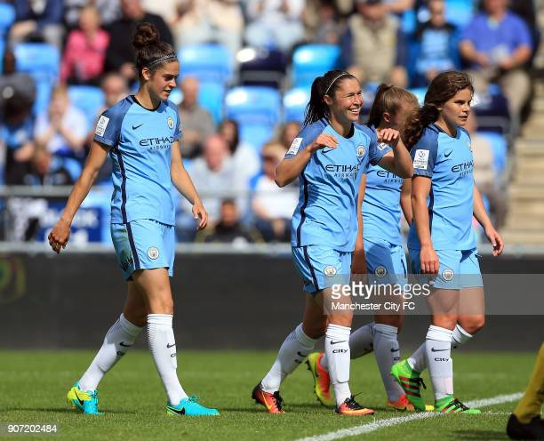 Manchester City Women v Doncaster Rovers Belles FA WSL Continental Tyres Cup City Academy Stadium Manchester City Women's Jane Ross celebrates with...