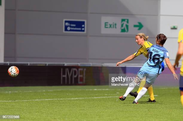 Manchester City Women v Doncaster Rovers Belles FA WSL Continental Tyres Cup City Academy Stadium Manchester City Women's Jane Ross scores her sides...