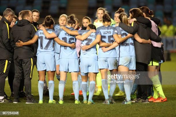 Manchester City Women v Fortuna Hjorring Women UEFA Women's Champions League Quarter Final Second Leg Academy Stadium Manchester City Women after...