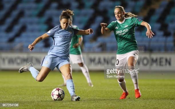 Manchester City Women v Fortuna Hjorring Women UEFA Women's Champions League Quarter Final Second Leg Academy Stadium Manchester City's Carli Lloyd...
