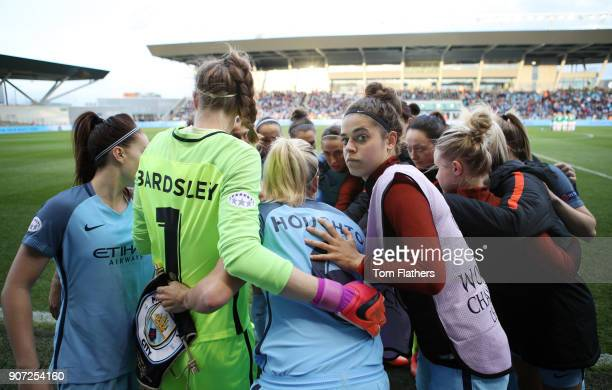 Manchester City Women v Fortuna Hjorring Women UEFA Women's Champions League Quarter Final Second Leg Academy Stadium Manchester City Women prepare...